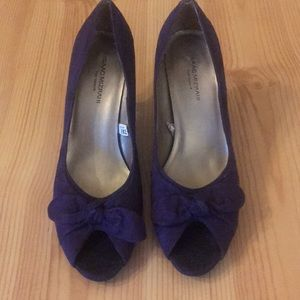 Isaac Mizrahi Purple Suede Peep-Toe Heels.